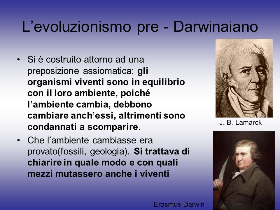 L'evoluzionismo pre - Darwinaiano