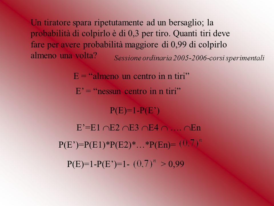 E = almeno un centro in n tiri