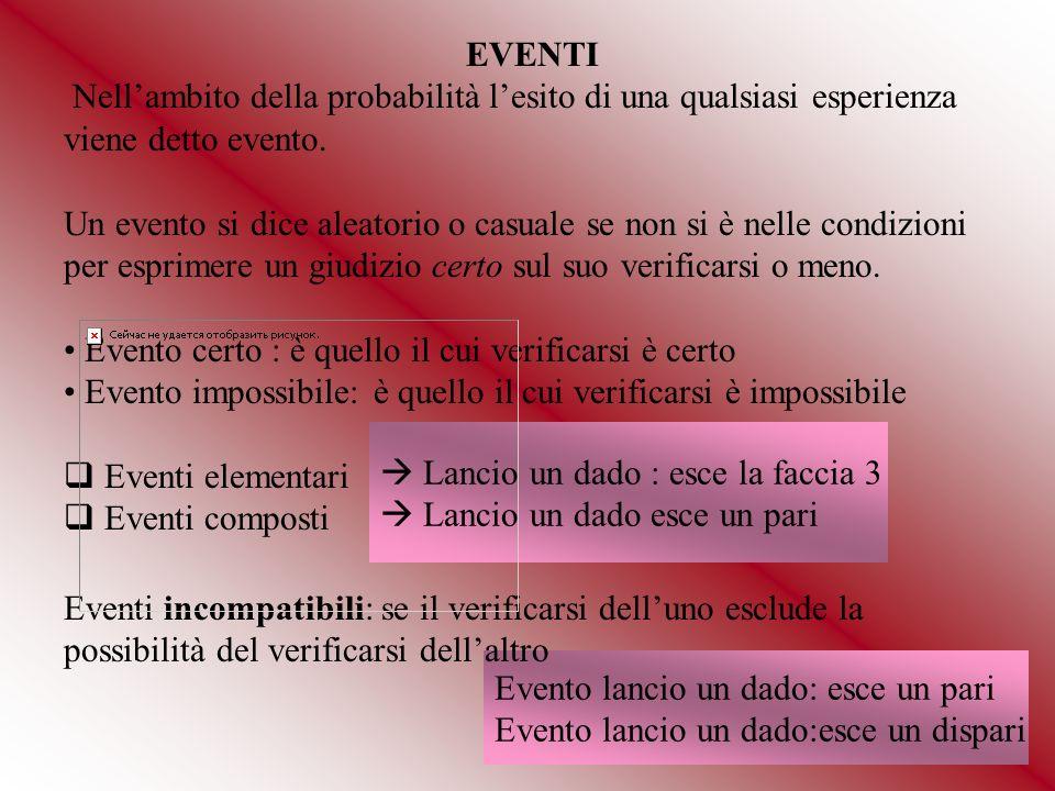 EVENTI Nell'ambito della probabilità l'esito di una qualsiasi esperienza viene detto evento.