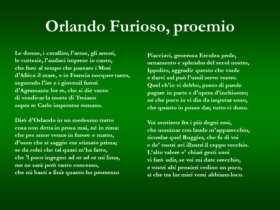 Orlando Furioso, proemio