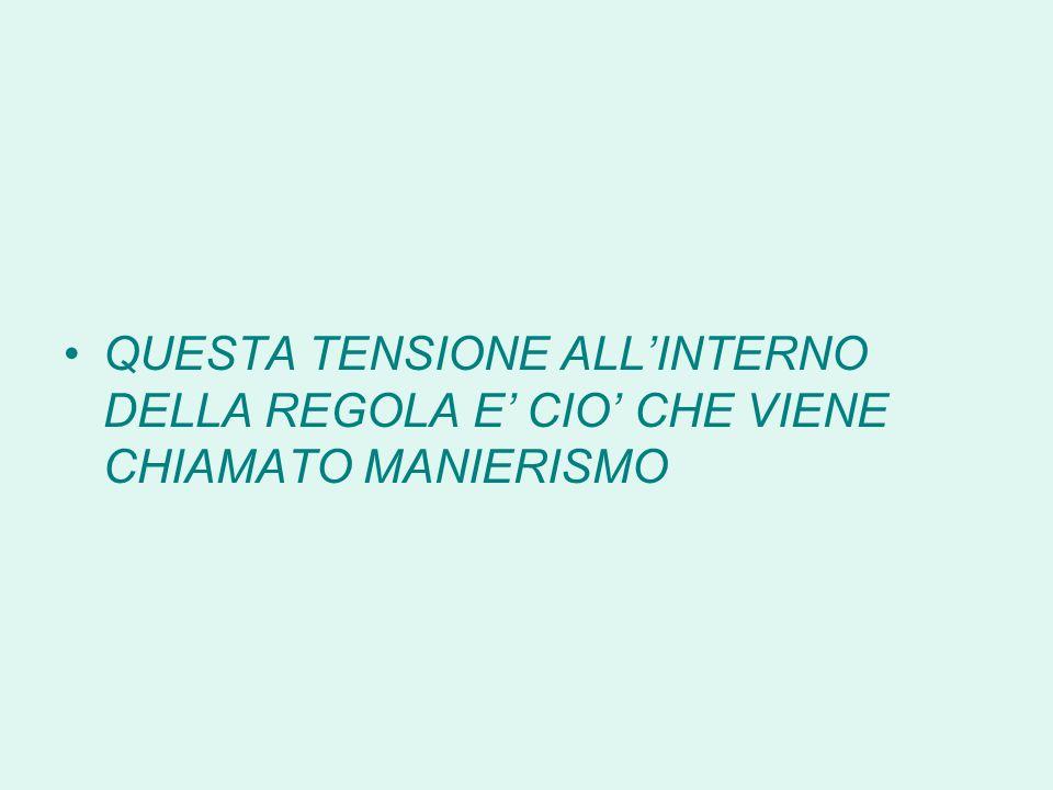 QUESTA TENSIONE ALL'INTERNO DELLA REGOLA E' CIO' CHE VIENE CHIAMATO MANIERISMO