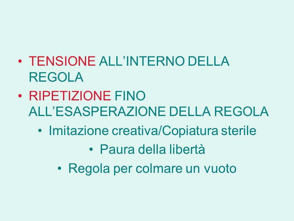TENSIONE ALL'INTERNO DELLA REGOLA