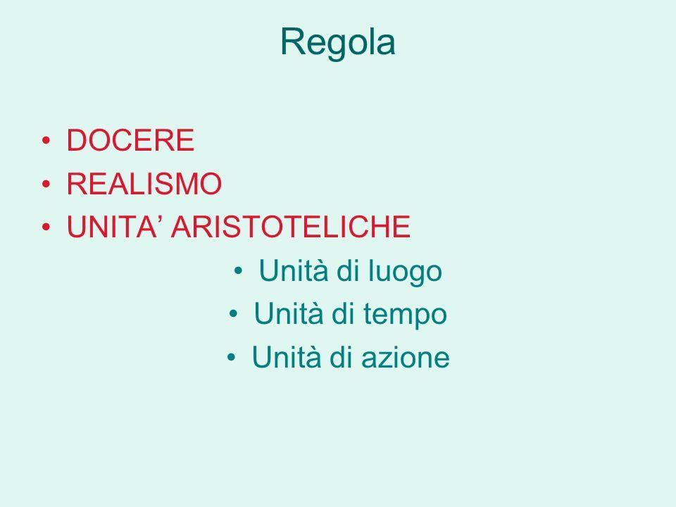 Regola DOCERE REALISMO UNITA' ARISTOTELICHE Unità di luogo