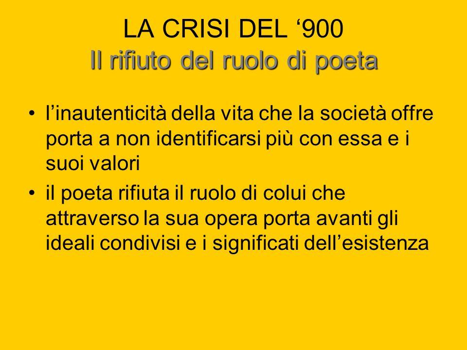 LA CRISI DEL '900 Il rifiuto del ruolo di poeta