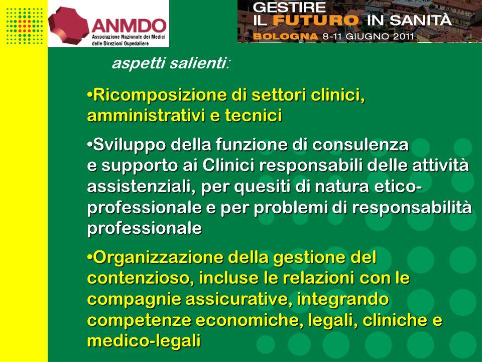 Ricomposizione di settori clinici, amministrativi e tecnici