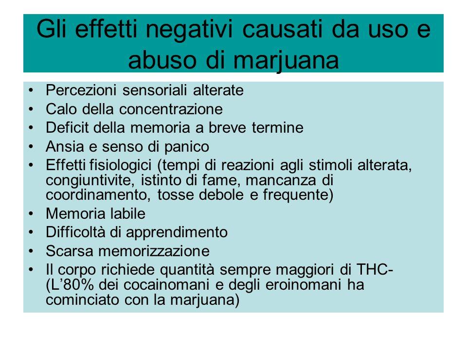 Gli effetti negativi causati da uso e abuso di marjuana