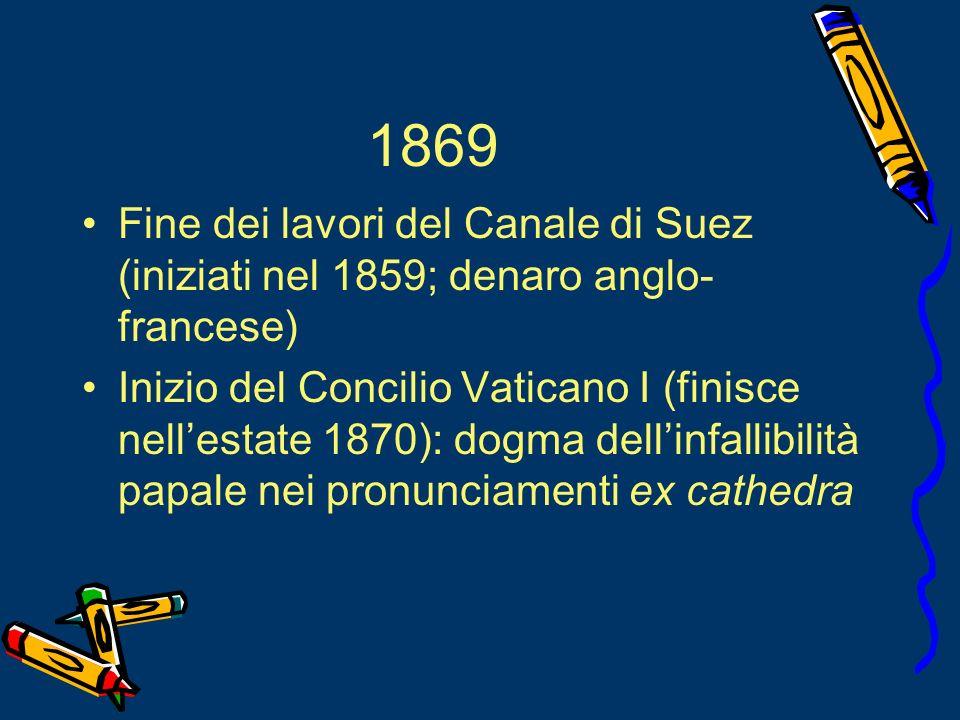 1869 Fine dei lavori del Canale di Suez (iniziati nel 1859; denaro anglo-francese)