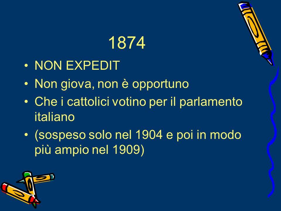 1874 NON EXPEDIT Non giova, non è opportuno