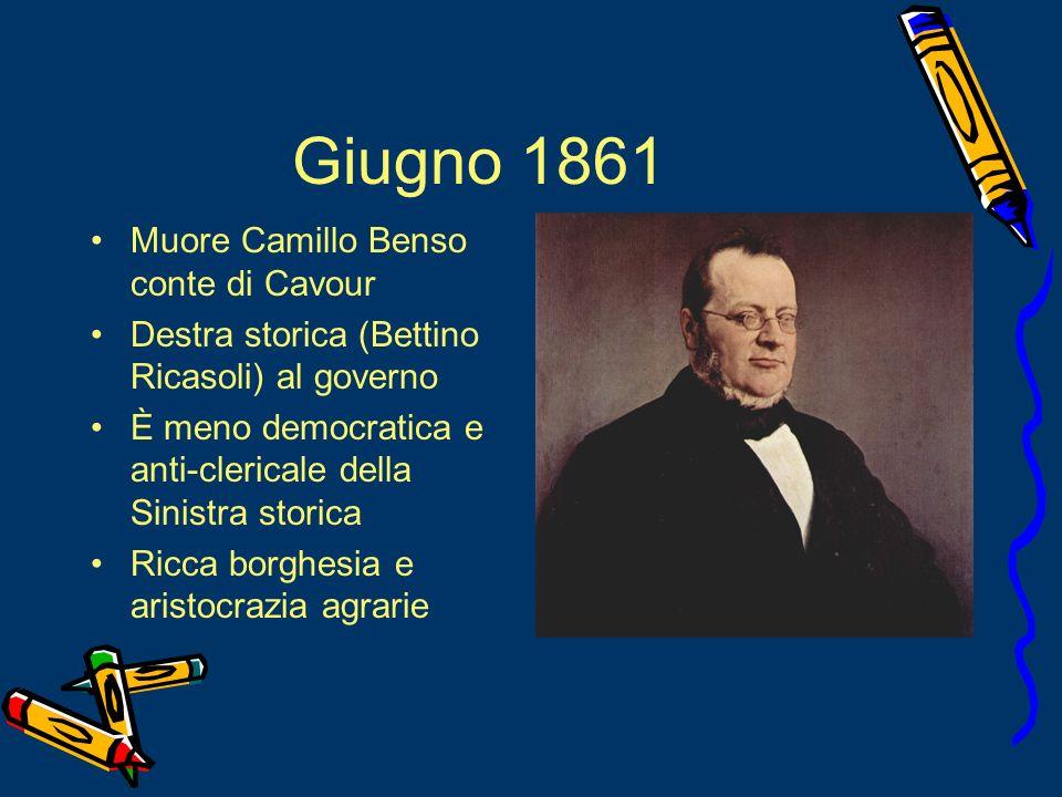 Giugno 1861 Muore Camillo Benso conte di Cavour