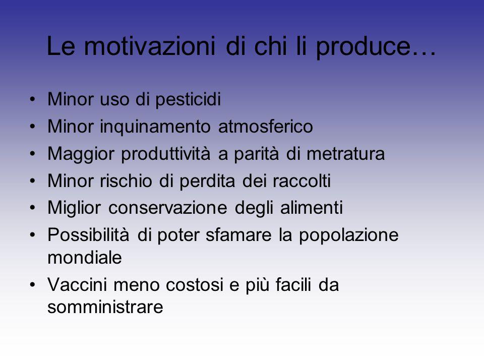 Le motivazioni di chi li produce…