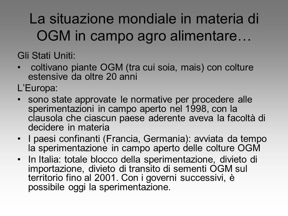 La situazione mondiale in materia di OGM in campo agro alimentare…