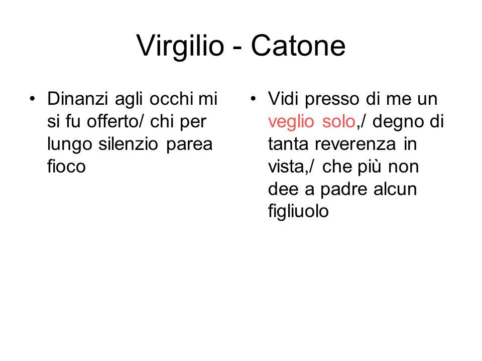 Virgilio - Catone Dinanzi agli occhi mi si fu offerto/ chi per lungo silenzio parea fioco.