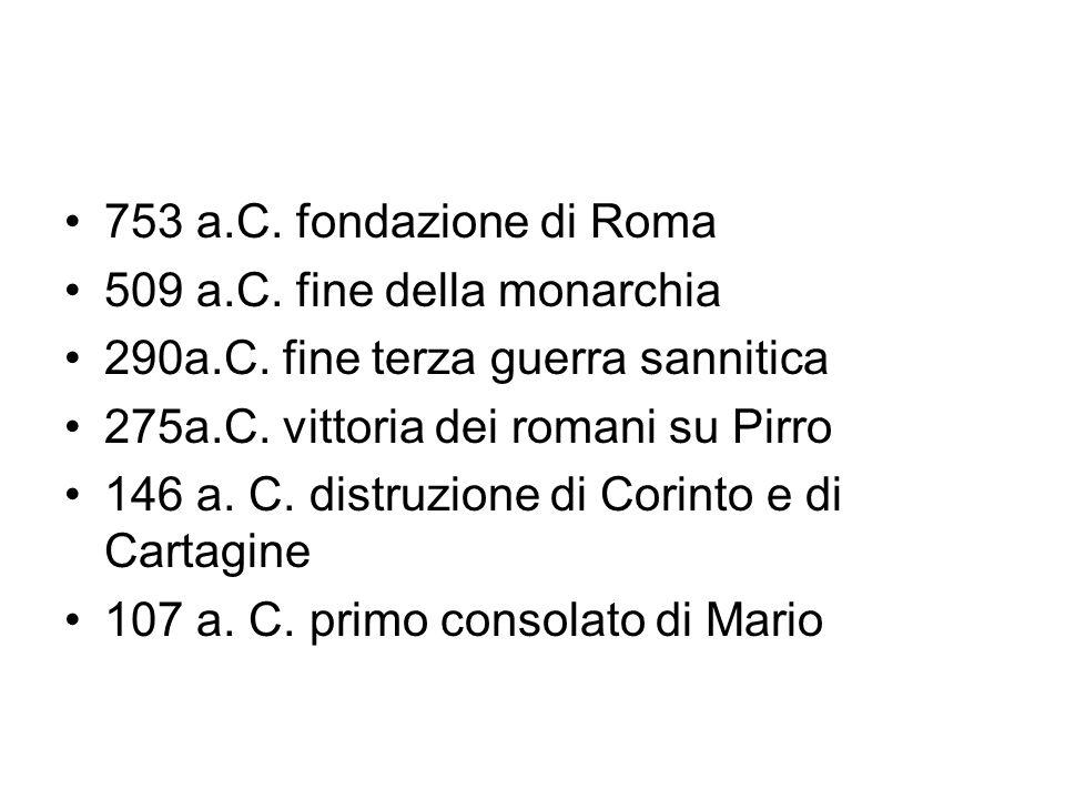 753 a.C. fondazione di Roma 509 a.C. fine della monarchia. 290a.C. fine terza guerra sannitica. 275a.C. vittoria dei romani su Pirro.