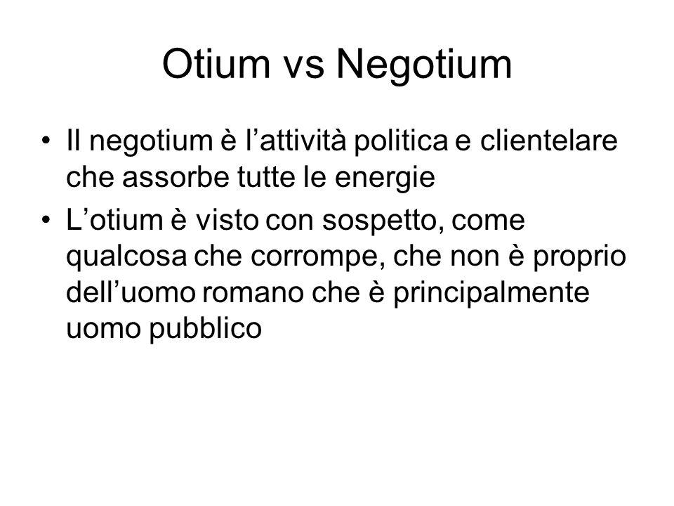 Otium vs Negotium Il negotium è l'attività politica e clientelare che assorbe tutte le energie.