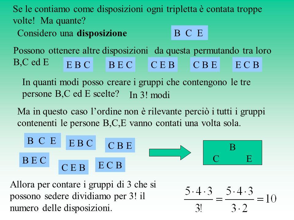 Considero una disposizione B C E
