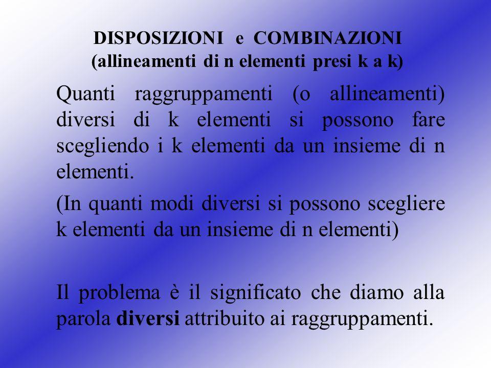 DISPOSIZIONI e COMBINAZIONI (allineamenti di n elementi presi k a k)