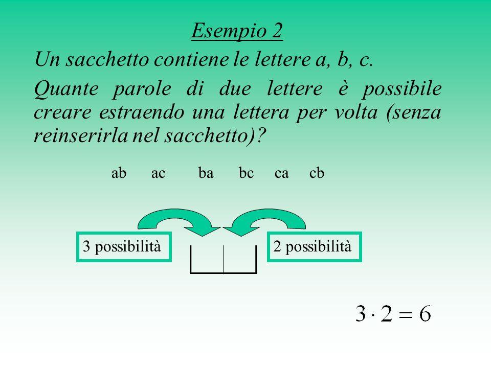 Un sacchetto contiene le lettere a, b, c.