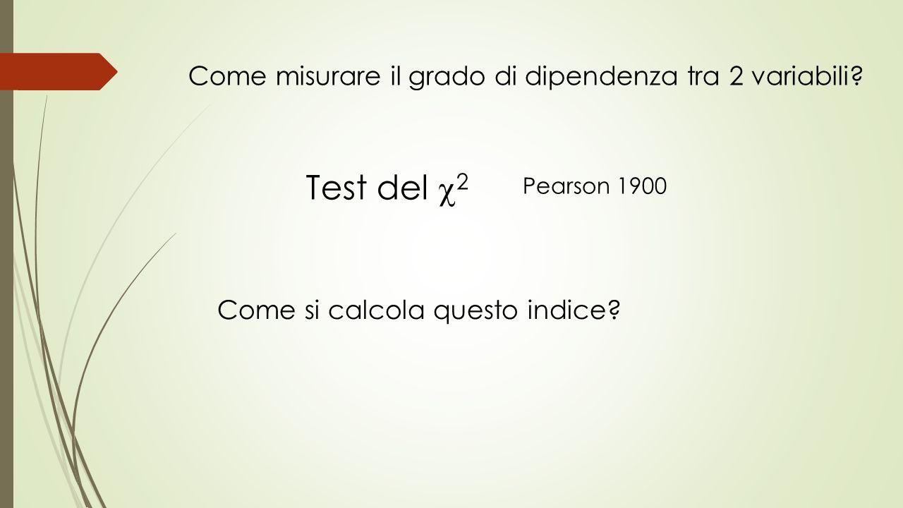 Test del 2 Come misurare il grado di dipendenza tra 2 variabili