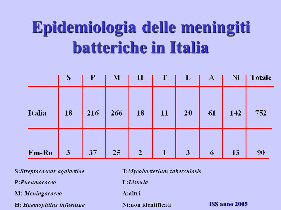 Epidemiologia delle meningiti batteriche in Italia