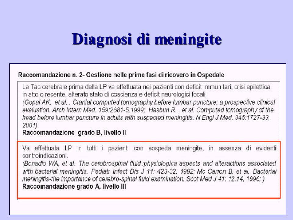 Diagnosi di meningite