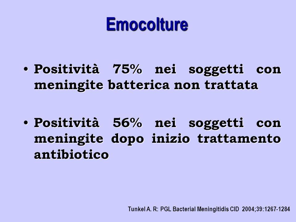 Emocolture Positività 75% nei soggetti con meningite batterica non trattata.