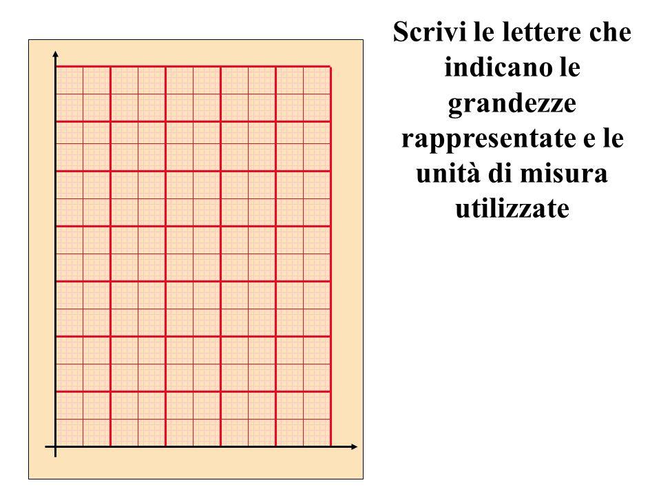 Scrivi le lettere che indicano le grandezze rappresentate e le unità di misura utilizzate