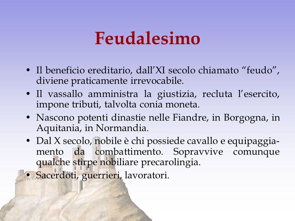 Feudalesimo Il beneficio ereditario, dall'XI secolo chiamato feudo , diviene praticamente irrevocabile.