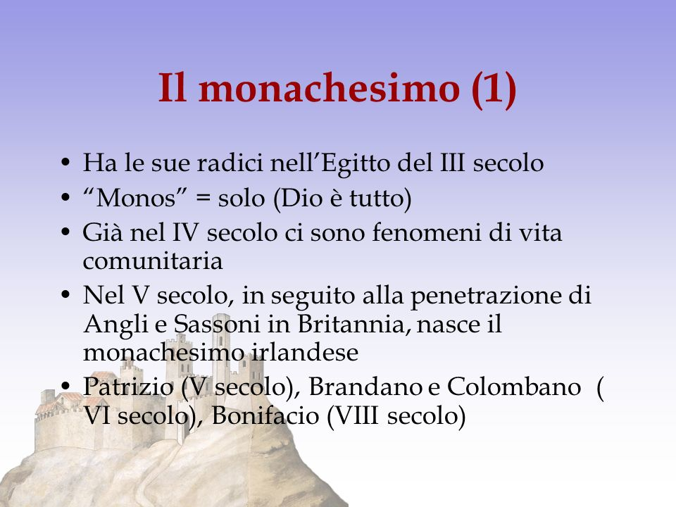 Il monachesimo (1) Ha le sue radici nell'Egitto del III secolo