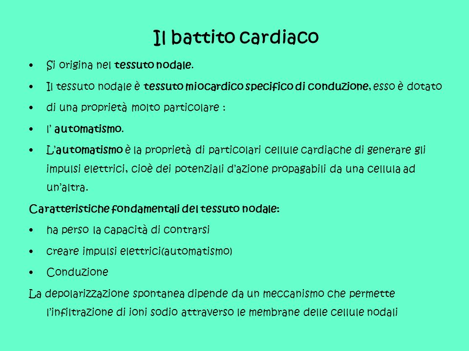 Il battito cardiaco Si origina nel tessuto nodale.