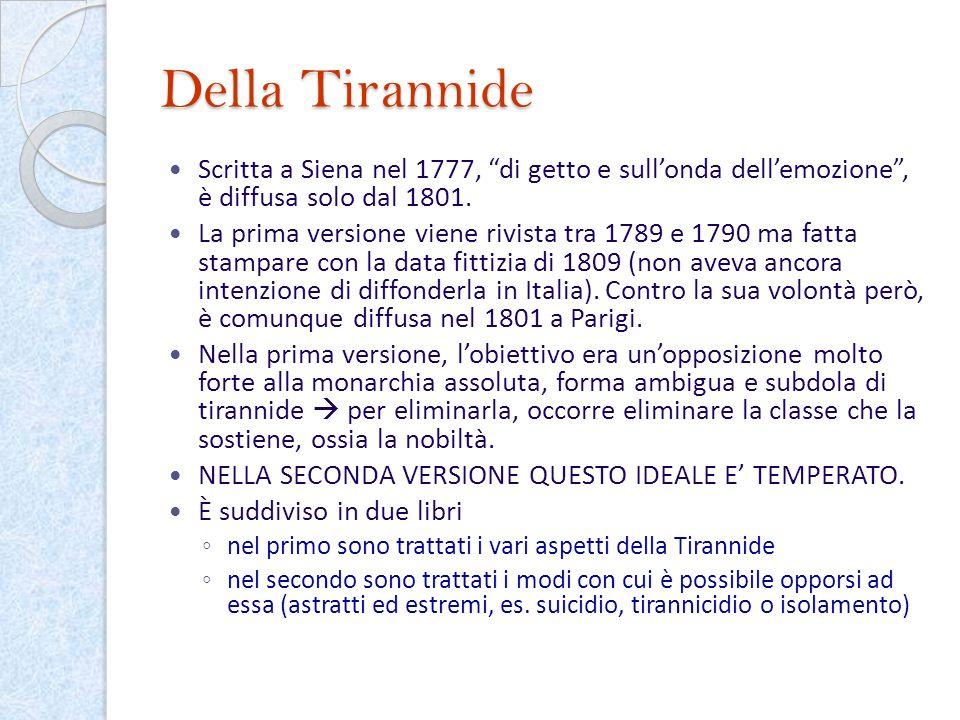 Della Tirannide Scritta a Siena nel 1777, di getto e sull'onda dell'emozione , è diffusa solo dal 1801.