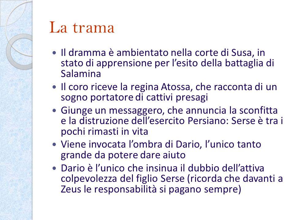 La trama Il dramma è ambientato nella corte di Susa, in stato di apprensione per l'esito della battaglia di Salamina.