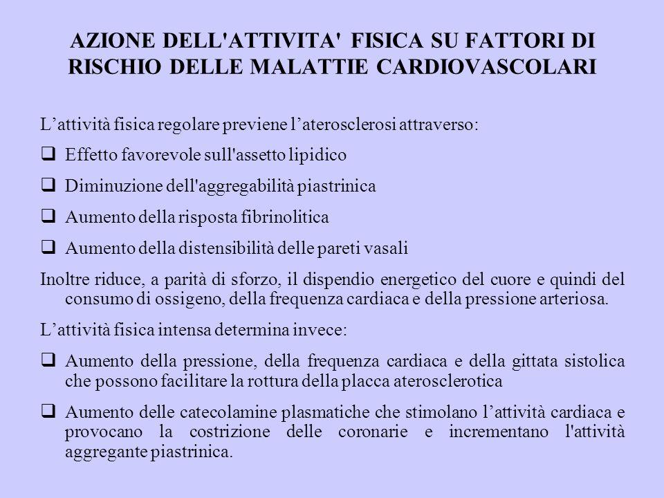 AZIONE DELL ATTIVITA FISICA SU FATTORI DI RISCHIO DELLE MALATTIE CARDIOVASCOLARI