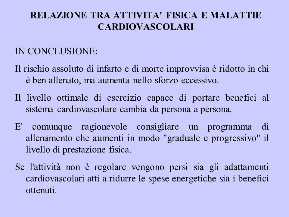RELAZIONE TRA ATTIVITA FISICA E MALATTIE CARDIOVASCOLARI