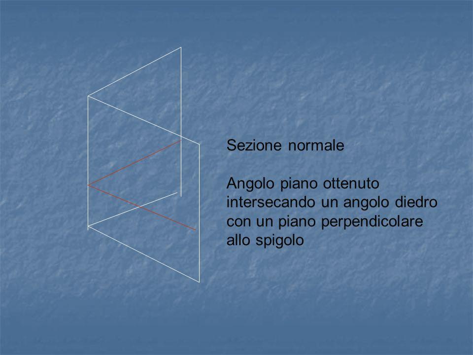 Sezione normale Angolo piano ottenuto intersecando un angolo diedro con un piano perpendicolare.