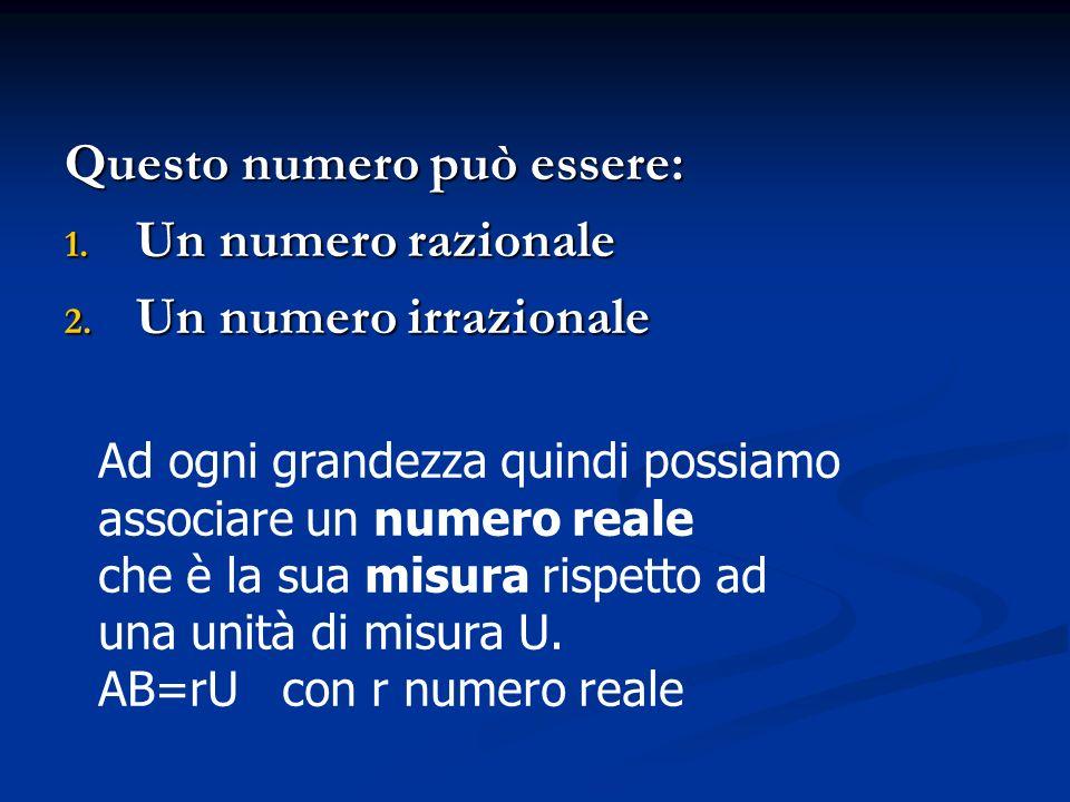 Questo numero può essere: Un numero razionale Un numero irrazionale