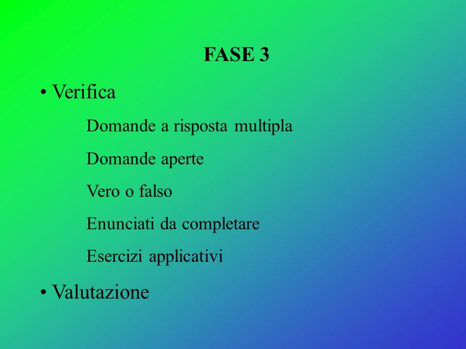 FASE 3 Verifica Valutazione Domande a risposta multipla Domande aperte