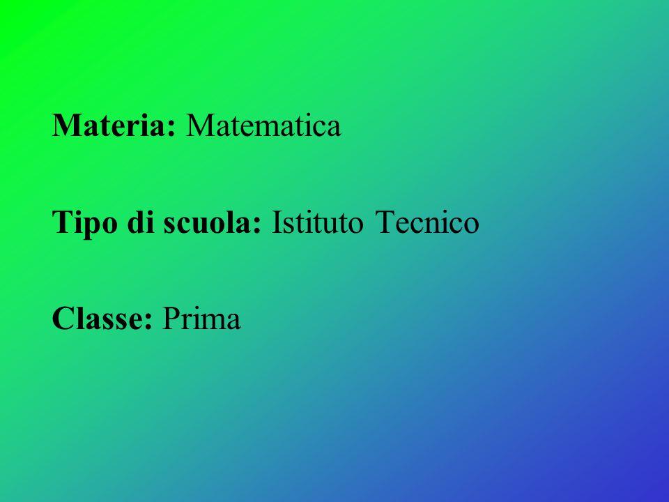 Materia: Matematica Tipo di scuola: Istituto Tecnico Classe: Prima