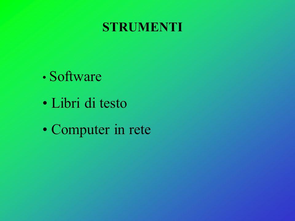 STRUMENTI Software Libri di testo Computer in rete
