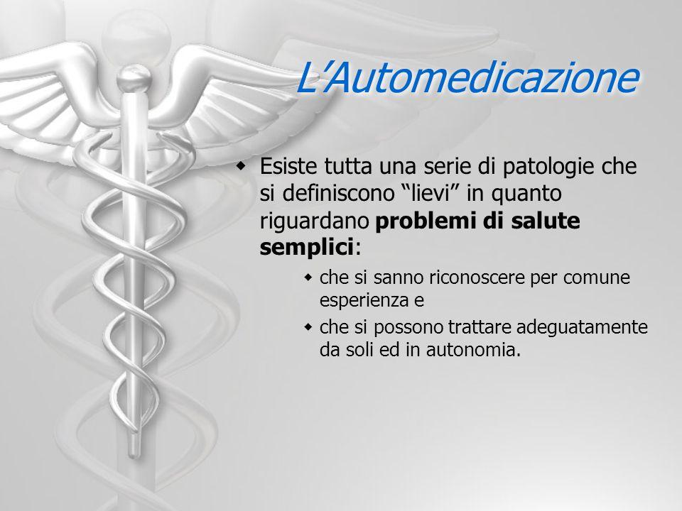 L'Automedicazione Esiste tutta una serie di patologie che si definiscono lievi in quanto riguardano problemi di salute semplici: