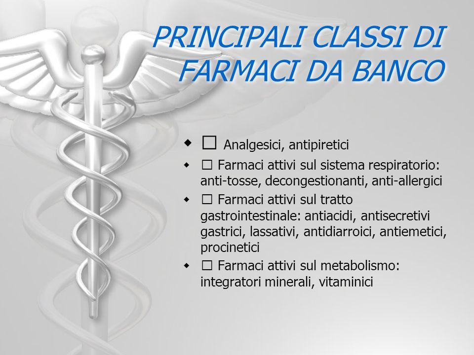 PRINCIPALI CLASSI DI FARMACI DA BANCO