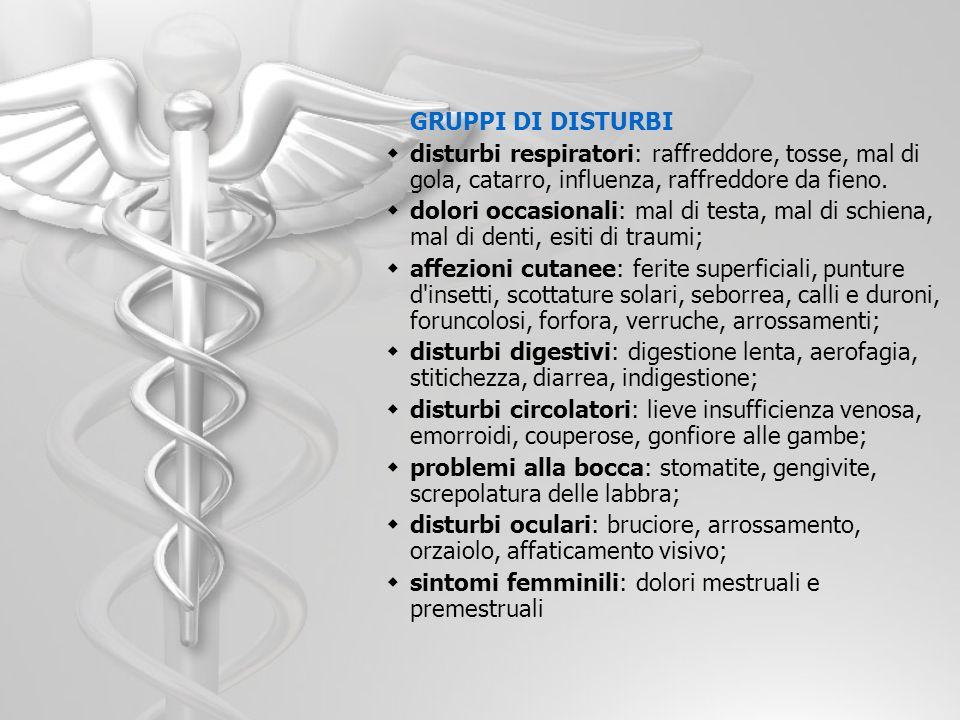 GRUPPI DI DISTURBI disturbi respiratori: raffreddore, tosse, mal di gola, catarro, influenza, raffreddore da fieno.