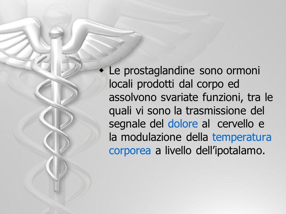 Le prostaglandine sono ormoni locali prodotti dal corpo ed assolvono svariate funzioni, tra le quali vi sono la trasmissione del segnale del dolore al cervello e la modulazione della temperatura corporea a livello dell'ipotalamo.