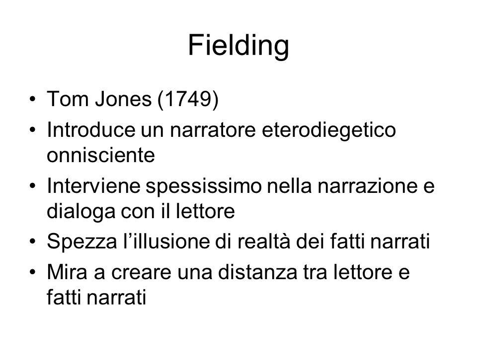 Fielding Tom Jones (1749) Introduce un narratore eterodiegetico onnisciente. Interviene spessissimo nella narrazione e dialoga con il lettore.