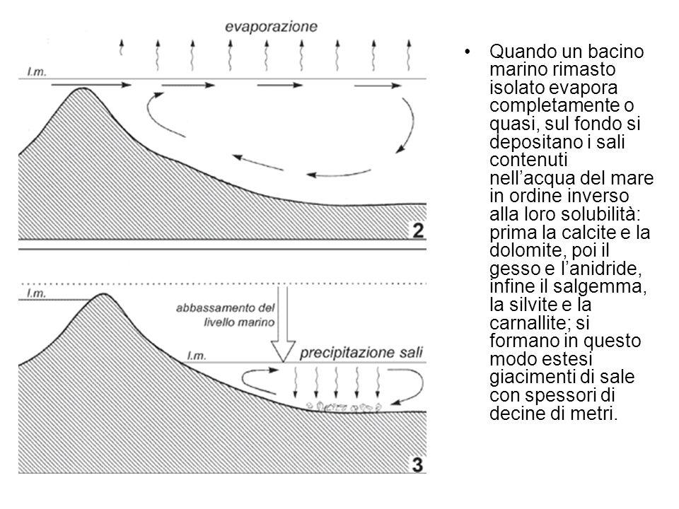 Quando un bacino marino rimasto isolato evapora completamente o quasi, sul fondo si depositano i sali contenuti nell'acqua del mare in ordine inverso alla loro solubilità: prima la calcite e la dolomite, poi il gesso e l'anidride, infine il salgemma, la silvite e la carnallite; si formano in questo modo estesi giacimenti di sale con spessori di decine di metri.