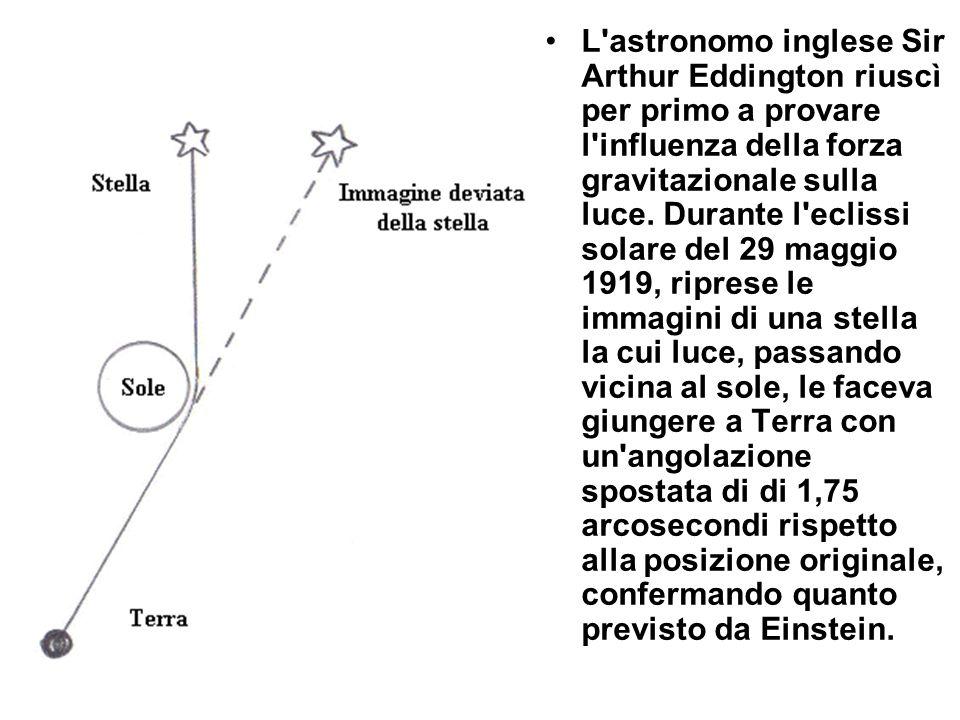L astronomo inglese Sir Arthur Eddington riuscì per primo a provare l influenza della forza gravitazionale sulla luce.