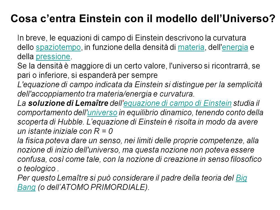 Cosa c'entra Einstein con il modello dell'Universo