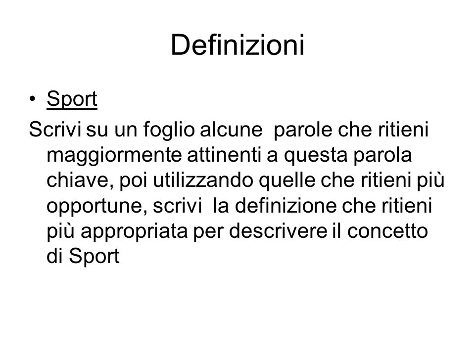 Definizioni Sport.