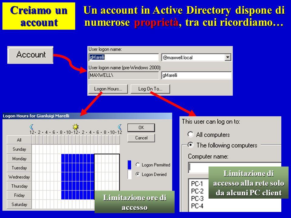 Creiamo un account Un account in Active Directory dispone di numerose proprietà, tra cui ricordiamo…