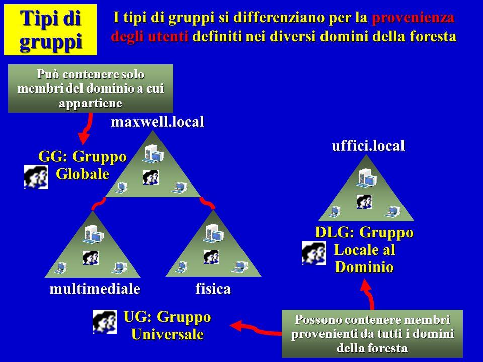 Tipi di gruppi I tipi di gruppi si differenziano per la provenienza degli utenti definiti nei diversi domini della foresta.