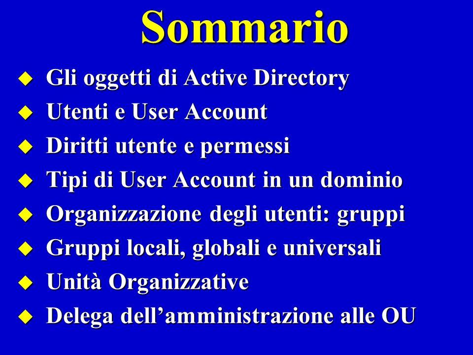 Sommario Gli oggetti di Active Directory Utenti e User Account